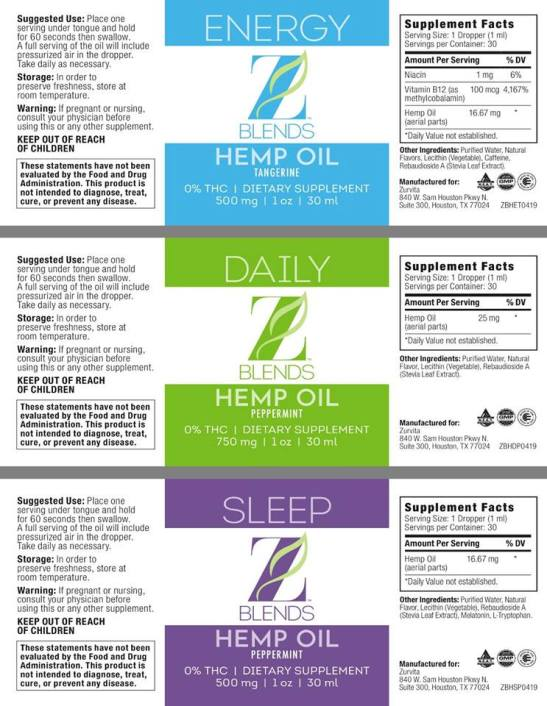 Zurvita's new Product ZBlendsHemp Nutritional Facts