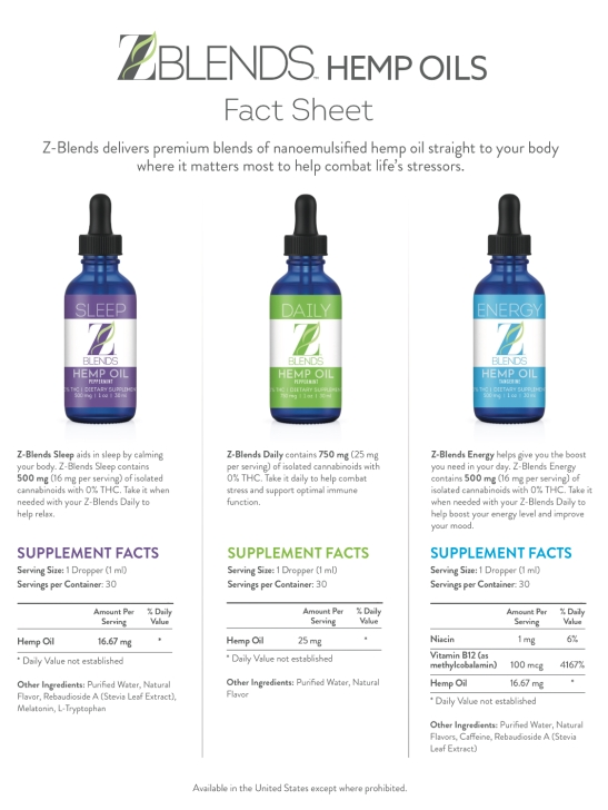 Zurvita ZBlends Hemp Oils